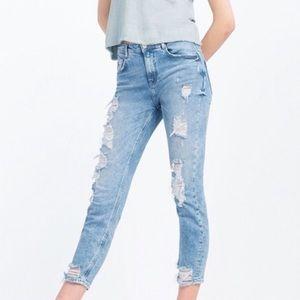 Zara Distressed Ripped Skinny Jeans